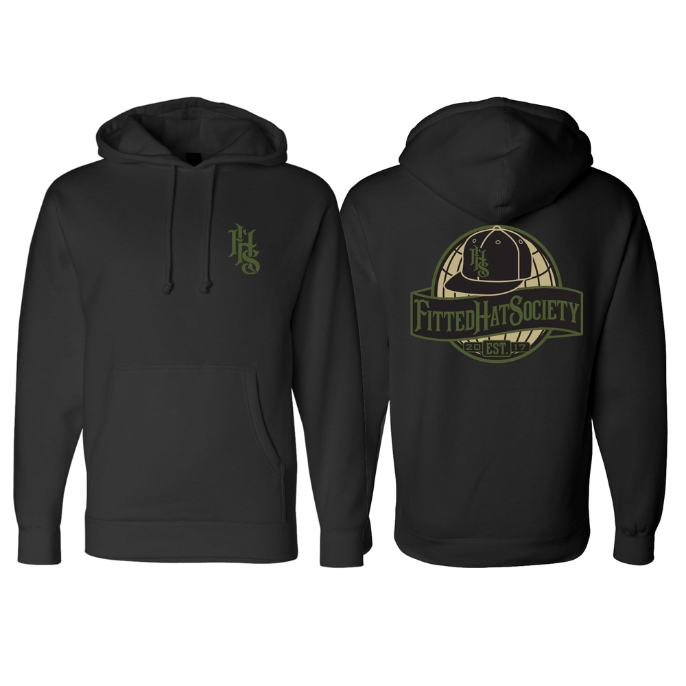 FHS Globe Logo Black Hooded Sweatshirt MIL FLIPPED