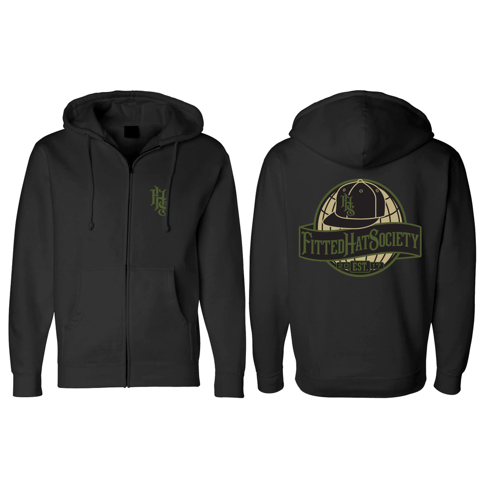 FHS Globe Logo Black Zip-Up Sweatshirt MIL *PREORDER*
