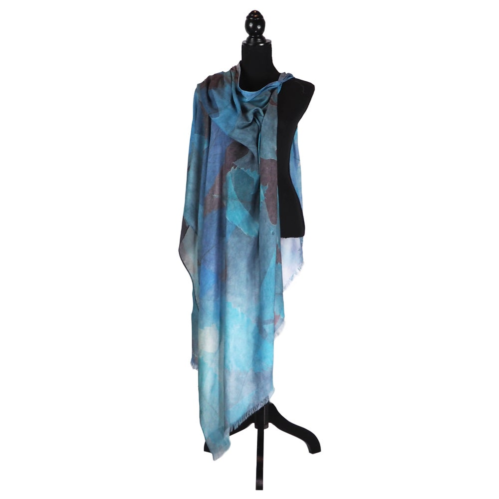 Image of Cashmere Blue Autumn Leaves Button Shawl