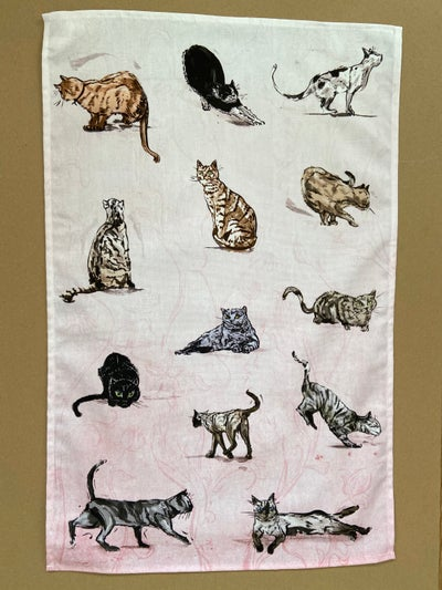 Image of Cat Pattern Tea Towel