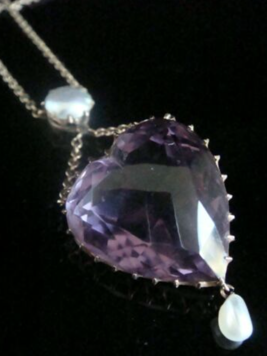 Image of Victorian 9ct rose gold large amethyst heart and pearl drop necklace