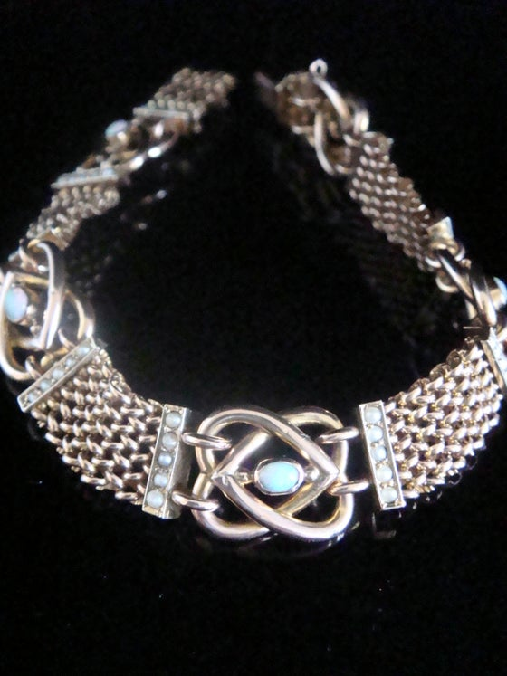 Image of Victorian 9ct rose gold natural opal seed pearl lovers knot bracelet 16.2g