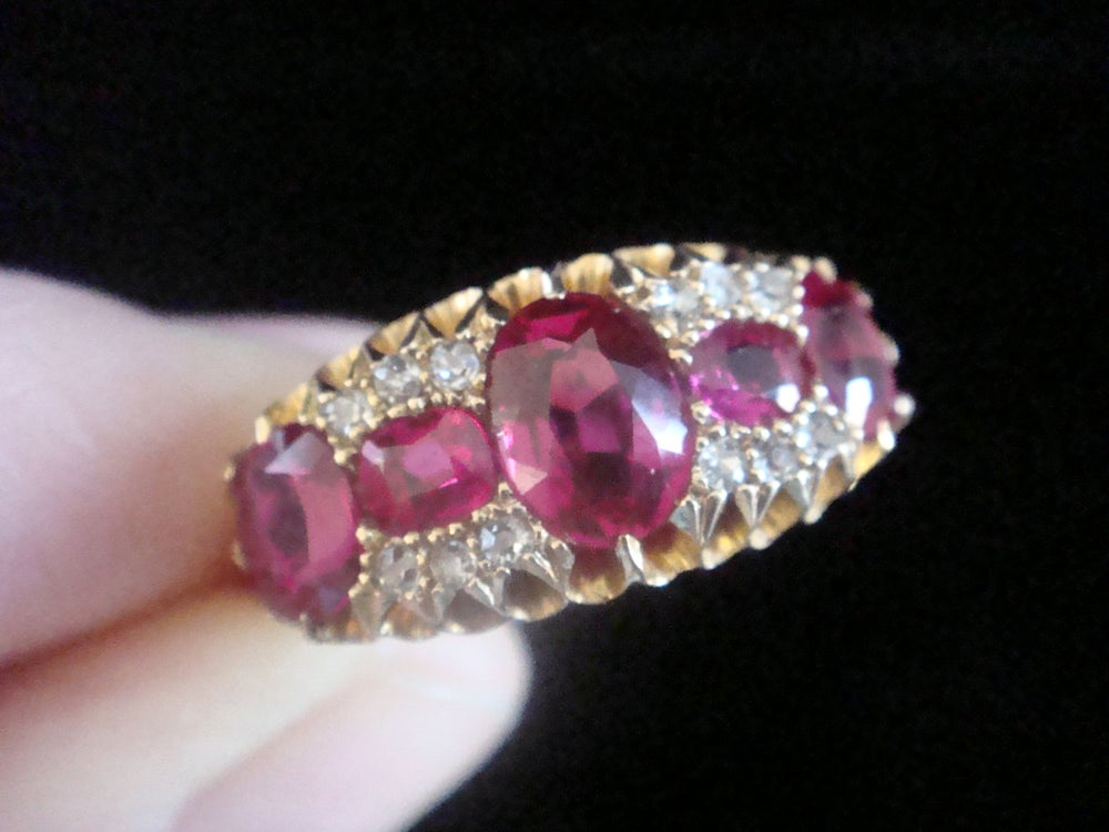 Image of Victorian 18ct yellow gold large synthetic Ruby and old cut diamond boat ring- special