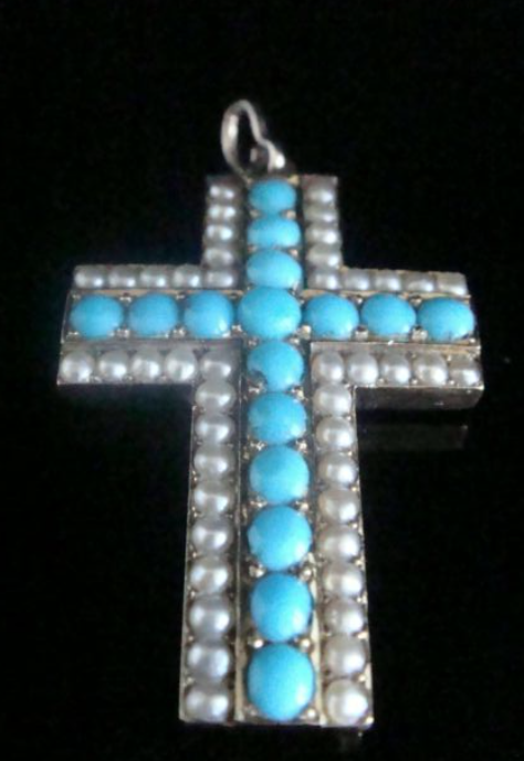 Image of High quality heavy Victorian high carat 15ct rose gold turquoise pearl cross