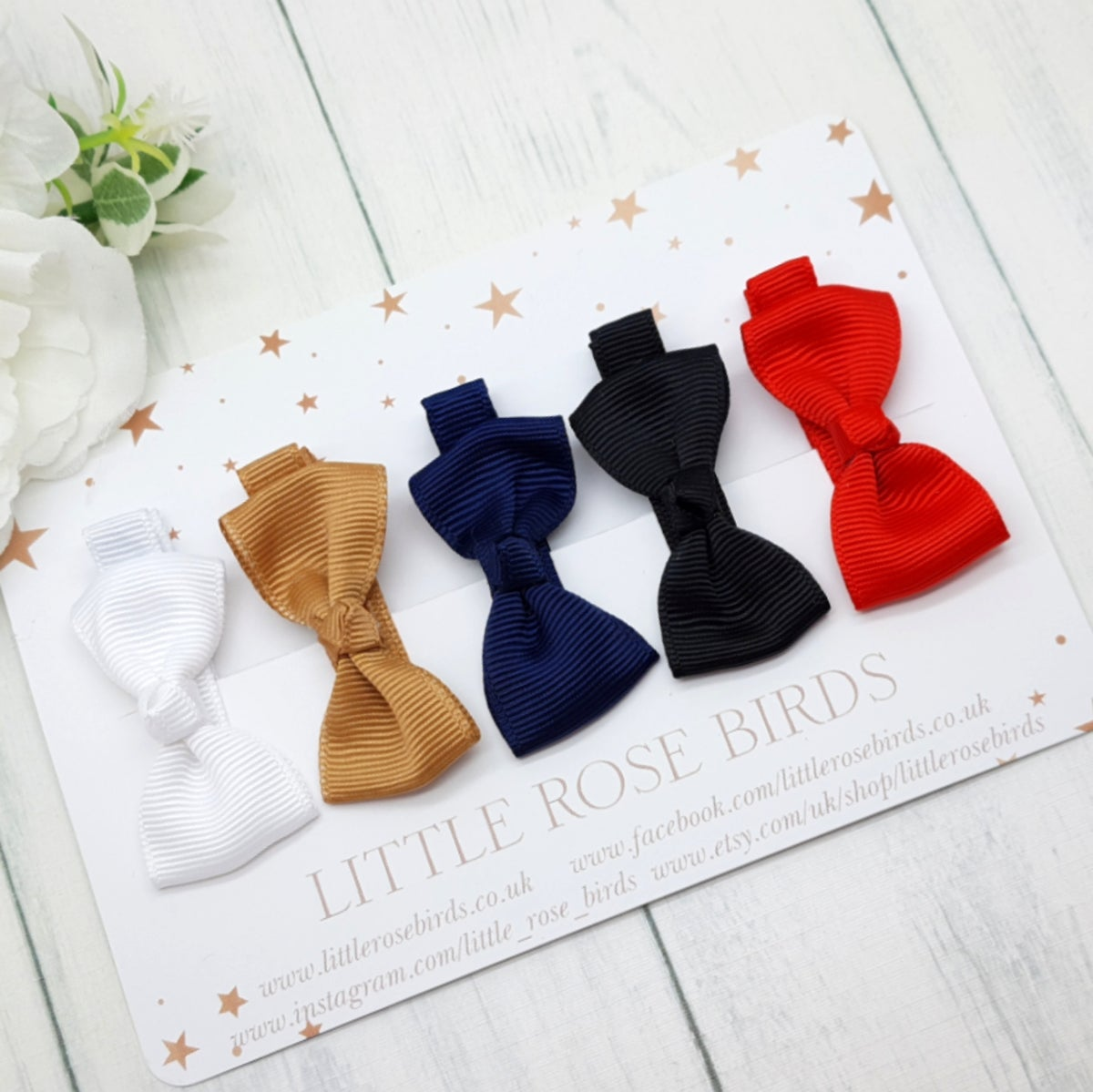Image of Set of 5 Mini Ribbon Hair Clips - Classic Set