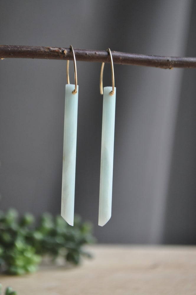 Image of Amazonite Bar Earrings OOAK