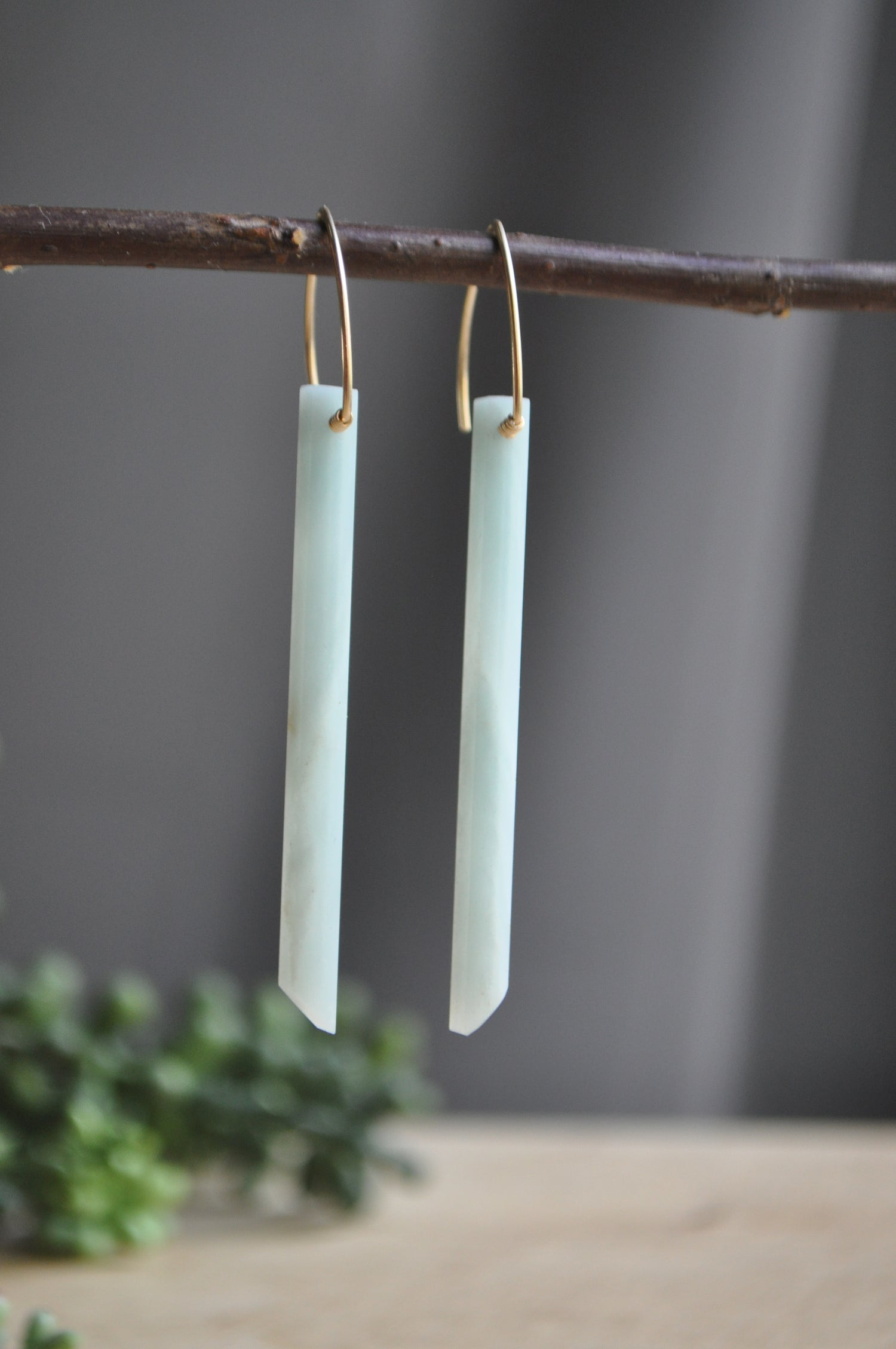 Image of Amazonite Bar Earrings OOAK