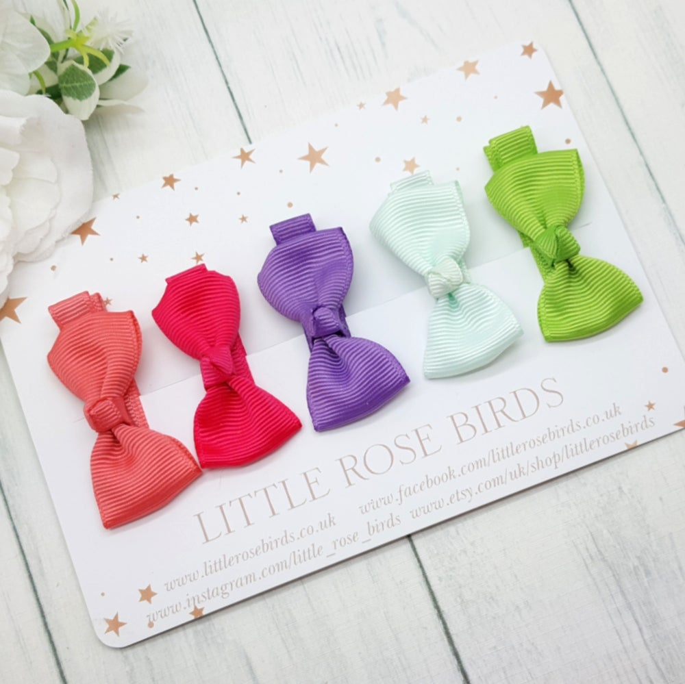 Image of Set of 5 Mini Ribbon Hair Clips - Spring Set