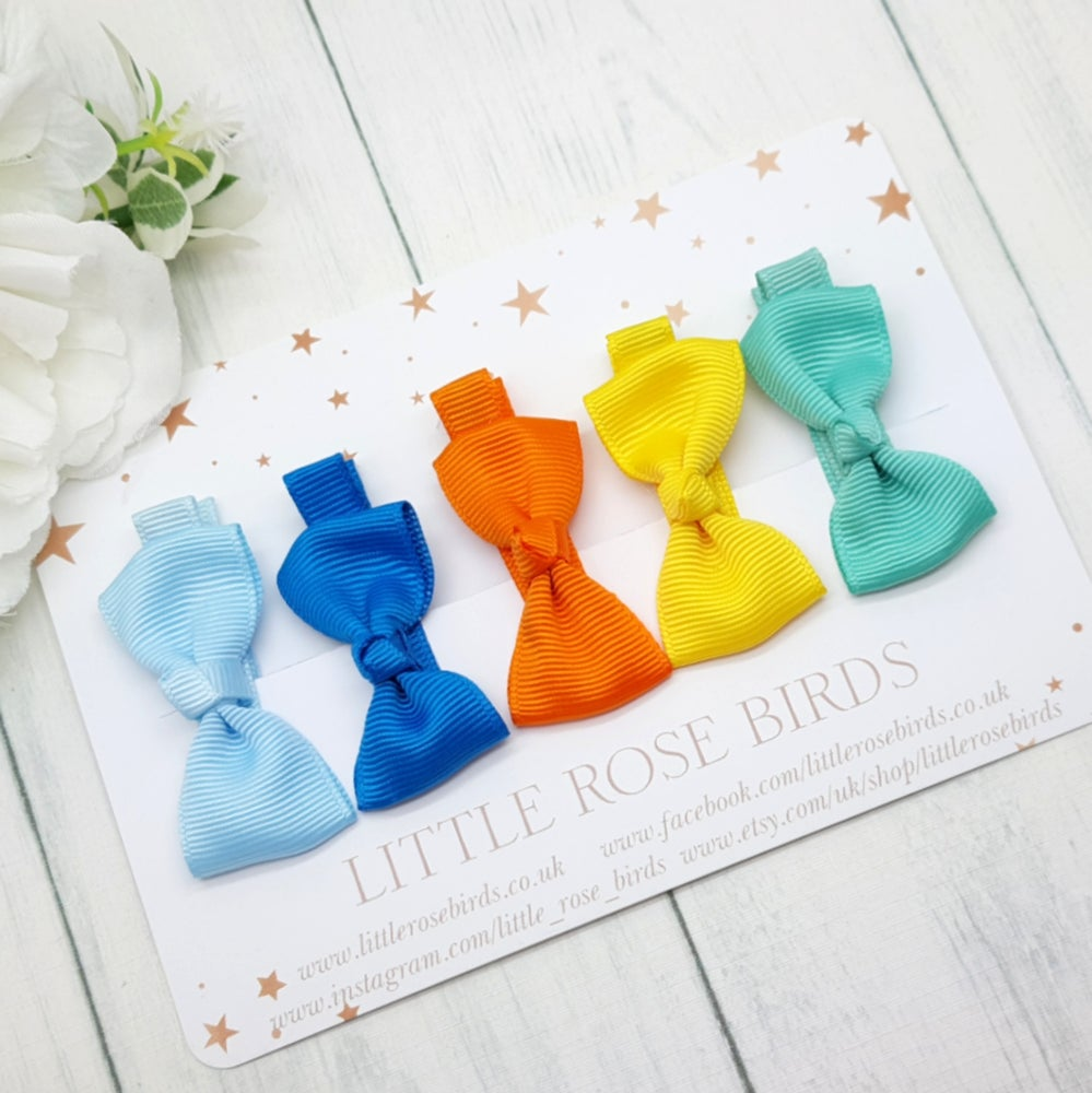 Image of Set of 5 Mini Ribbon Hair Clips - Brights Set