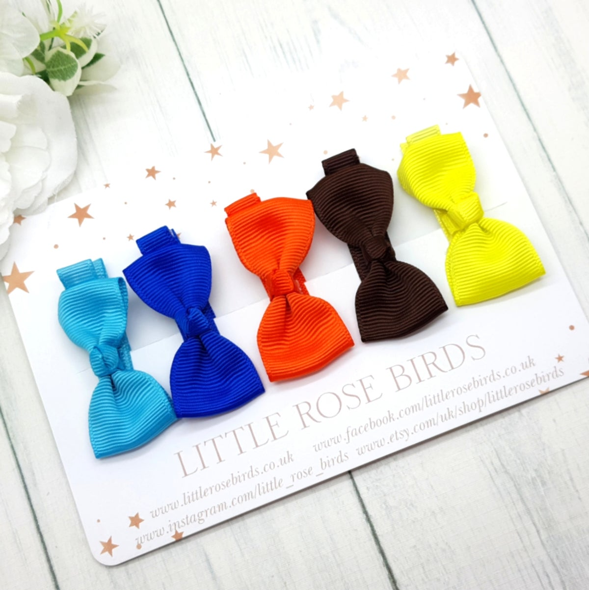 Image of Set of 5 Mini Ribbon Hair Clips - Mixed Set