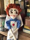 1940s style WW2 VAD Nurse Rag Doll