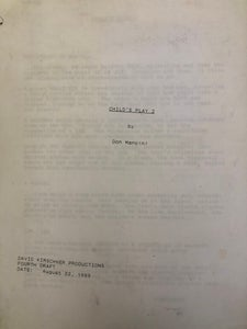 Image of Autographed Child's Play 2 script!
