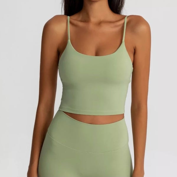 Image of AIMEE CROP TOP OLIVE GREEN