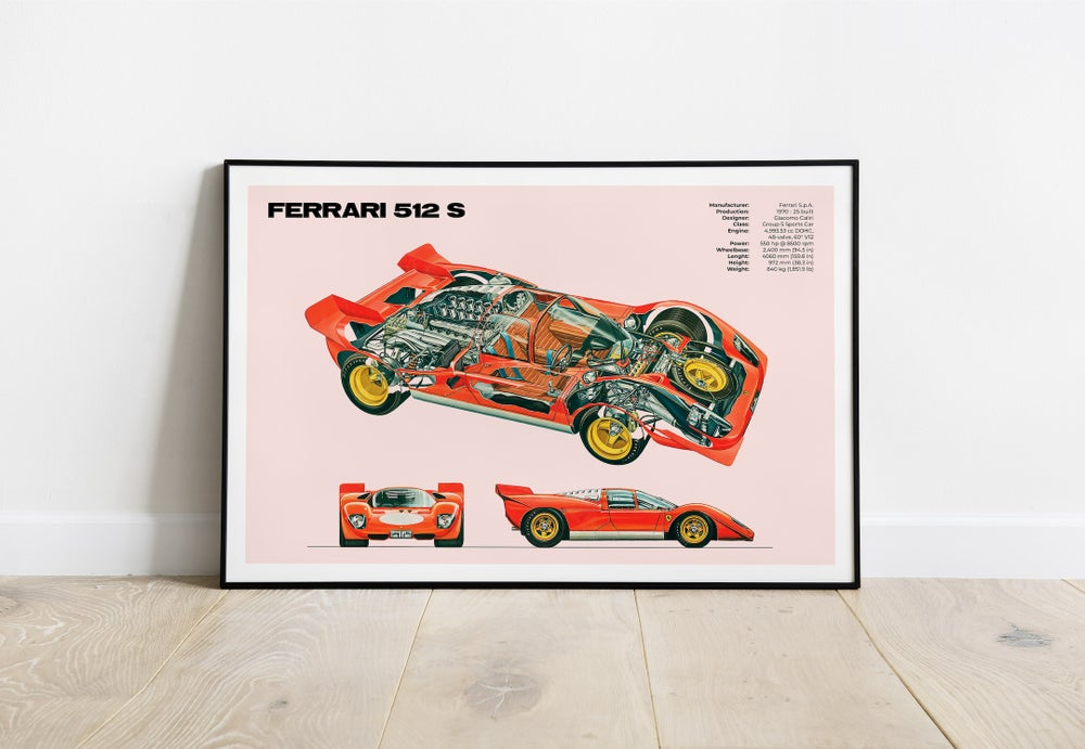 Ferrari 512 S - Classic Racing Sport Car Chassis Poster