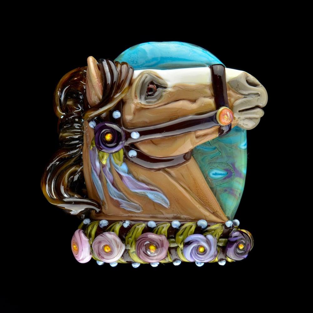 Image of XXXL. Ulysses Carousel Horse - Flamework GLass Sculpture Bead
