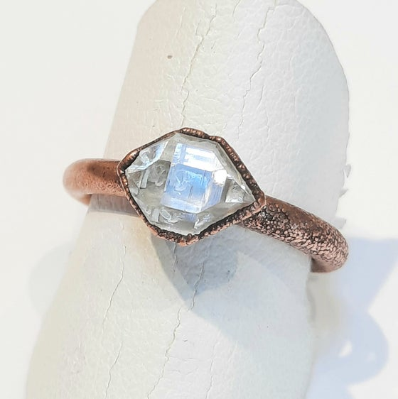 Image of  Herkimer Diamond and Electro-formed Copper Ring