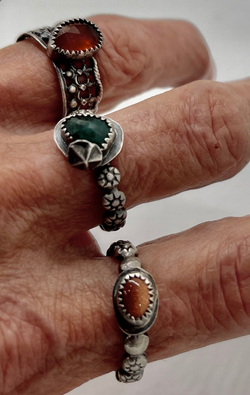 Image of Rose Cut Emerald Stacker with Sterling Star. Ring Size 7.5