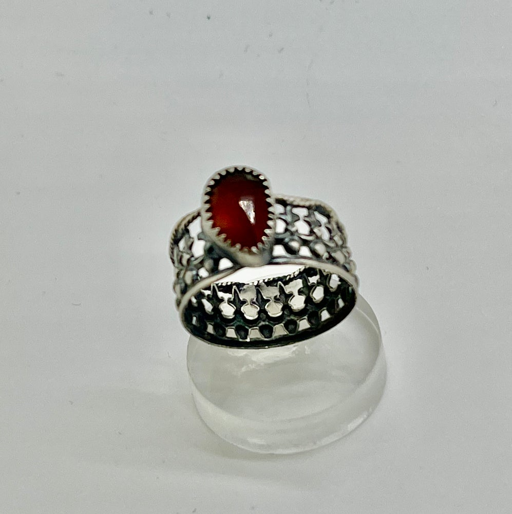 Image of  Crown Ring with Rose Cut Hessonite Garnet Size 6.5