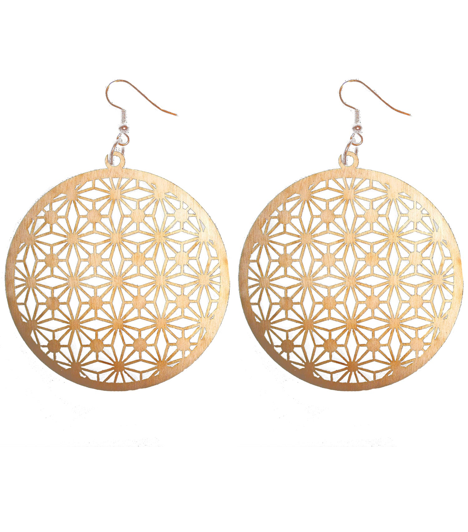 Image of CHERRY WOOD LASER CUT EARRINGS WOOD AND COPPER