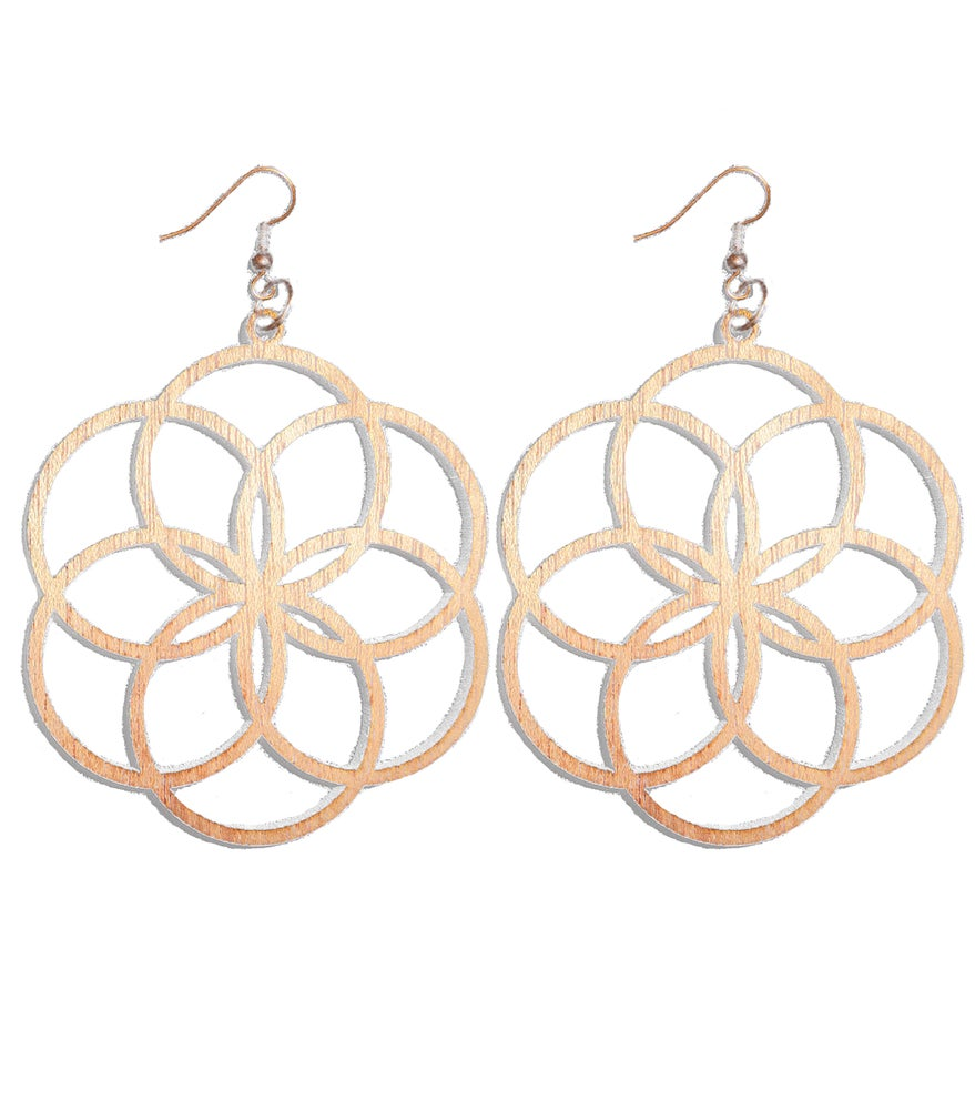 Image of CHERRY WOOD LASER CUT EARRINGS WOOD AND COPPER FLOWER OF LIFE