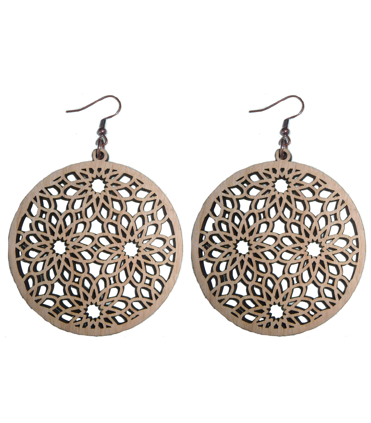 Image of MAHOGANY WOOD LASER CUT EARRINGS WOOD AND COPPER COSMOS