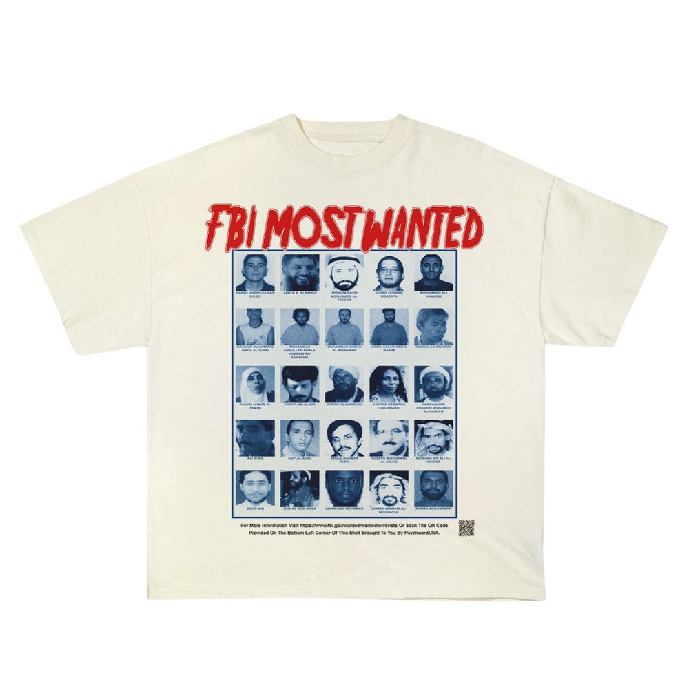 """Image of """"FBI MOST WANTED"""" White Tee"""