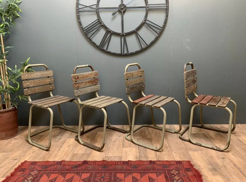 Image of Mid Century Retro Industrial Tubular Military Style Chairs.