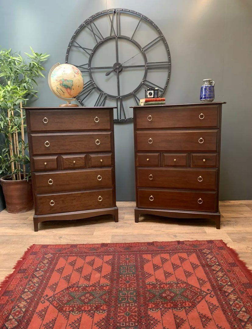 Image of RARE MATCHING PAIR OF STAG MINSTREL SOLID MAHOGANY CHEST OF DRAWERS, VINTAGE.