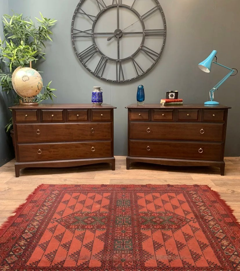 Image of RARE MATCHING PAIR OF STAG MINSTREL SOLID MAHOGANY CHEST OF DRAWERS