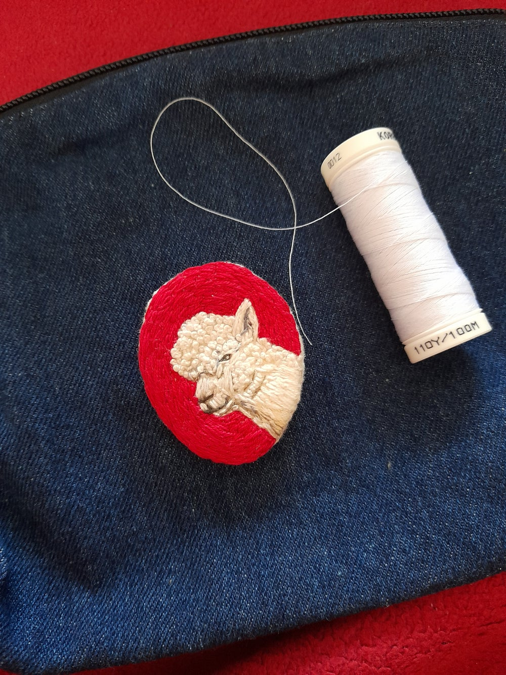 Image of Alpaca Hand Embroidered Brooch