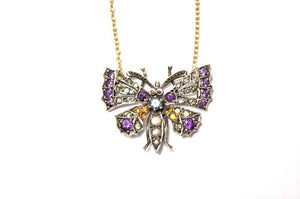 Image of Victorian diamond butterfly necklace