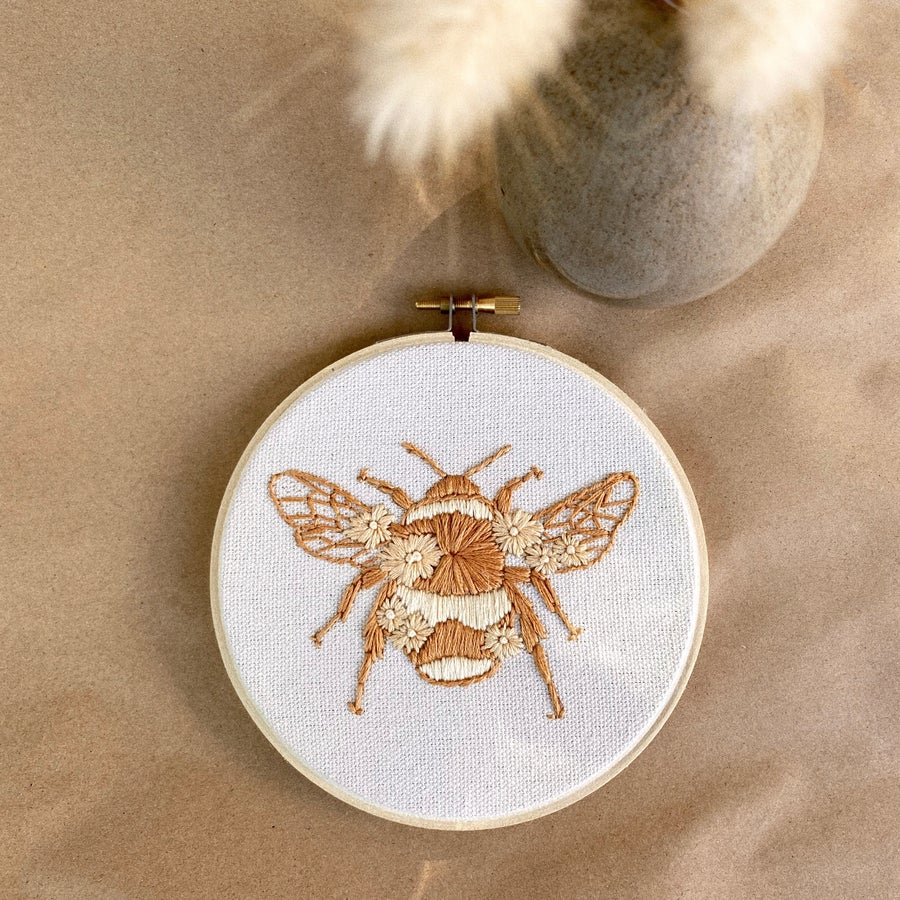 Image of Floral  Bee Hand Embroidered Hoop