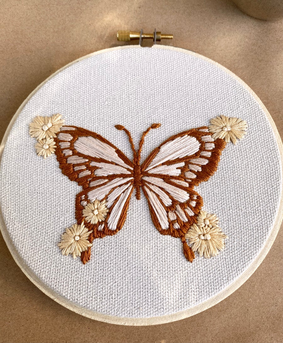 Image of Floral Butterfly Hand Embroidered Hoop