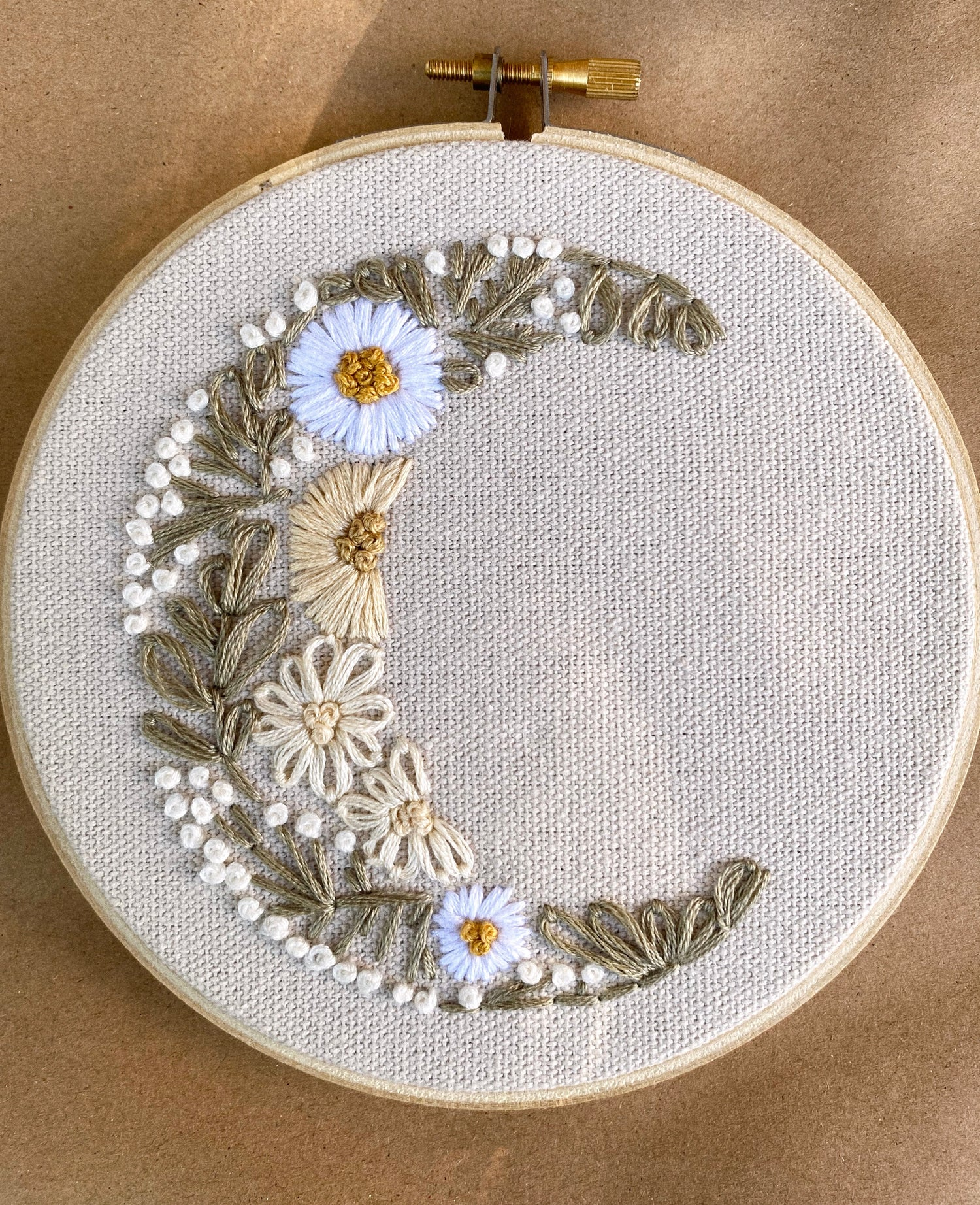 Image of Floral Moon Hand Embroidered Hoop