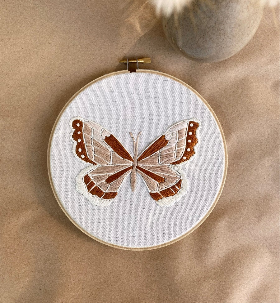 Image of Large Vintage Inspired Monarch Hand Embroidered Hoop
