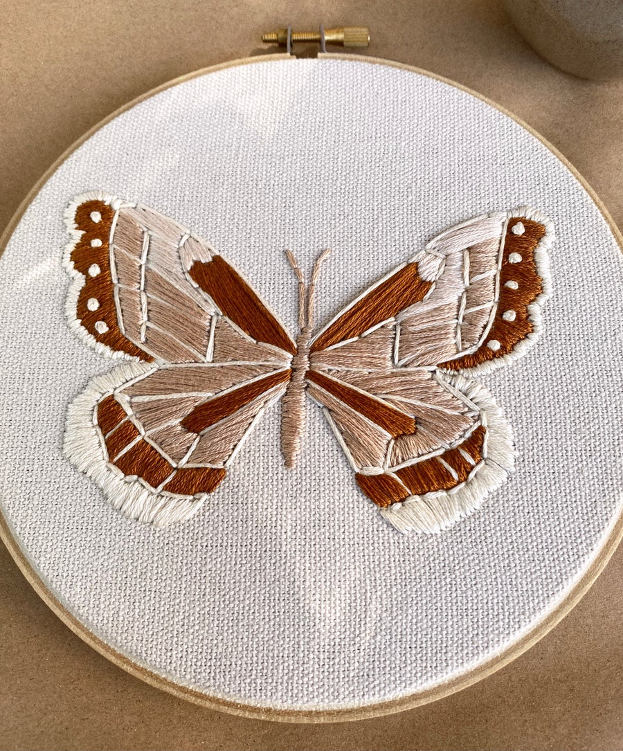 Image of Vintage Inspired Monarch Hand Embroidered Hoop