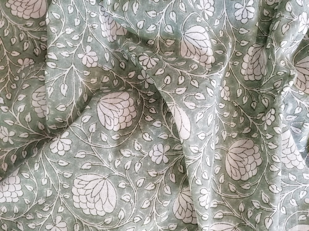 Image of Namasté fabric lotus fond vert de gris