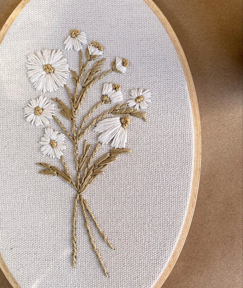 Image of Wild Daisy Hand Embroidered Hoop