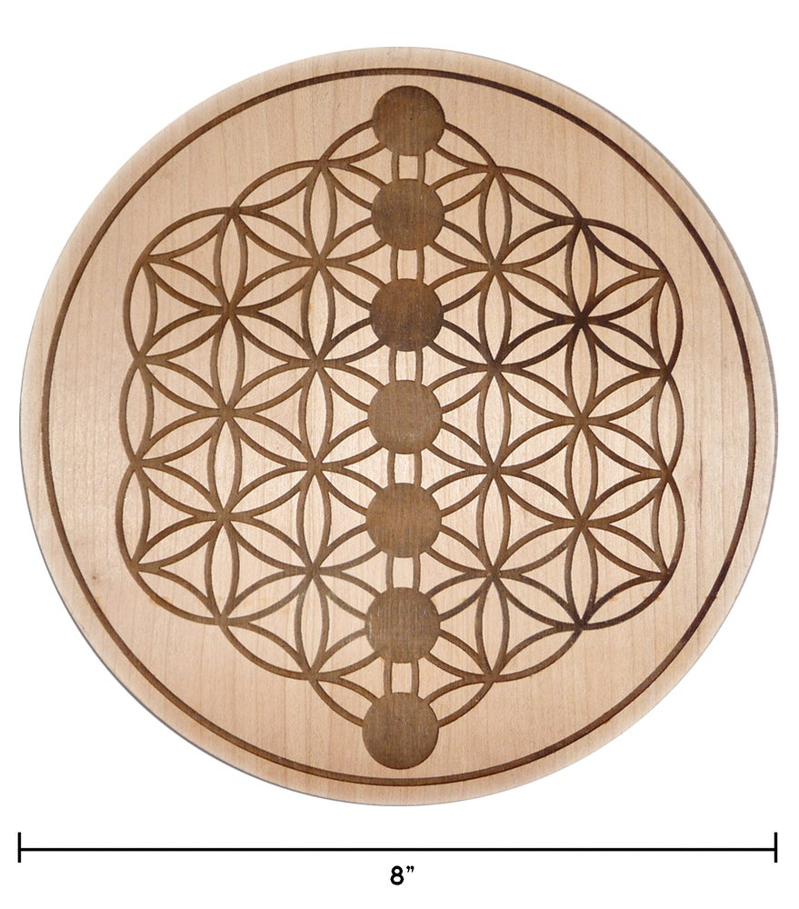 "Image of NEW 8"" CHERRY WOOD CHAKRA CRYSTAL GRID CHARGING BOARD"