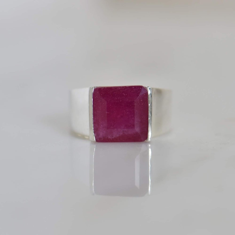 Image of Natural Pink Thai Ruby square cut wide band silver ring