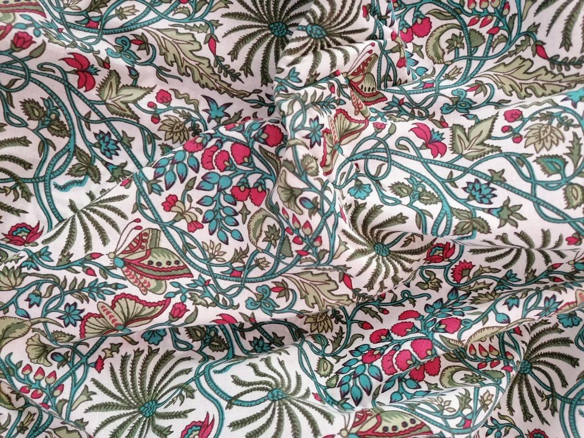 Image of Namasté fabric papillons colorés