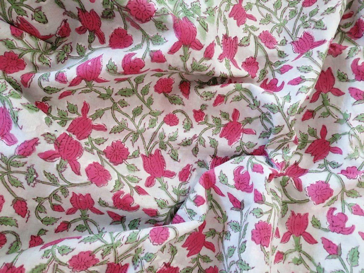 Image of Namasté fabric fleurs grimpantes bordeaux