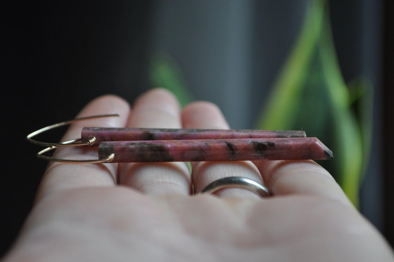 Image of OOAK Rhodonite Bar Dangles