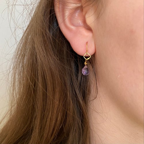 Image of Indian summer hook earrings tiny- Amethyst