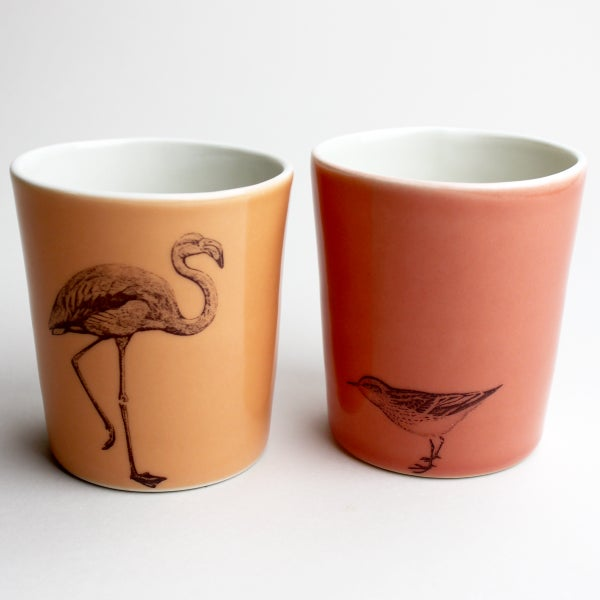 Image of set of two 12oz tumblers, flamingo and sandpiper