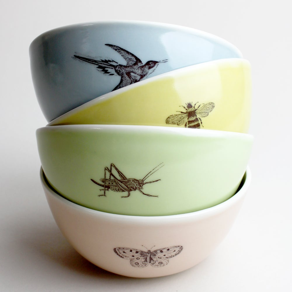 Image of rustic bowls, set of four, bumblebee, hummingbird, butterfly, cricket