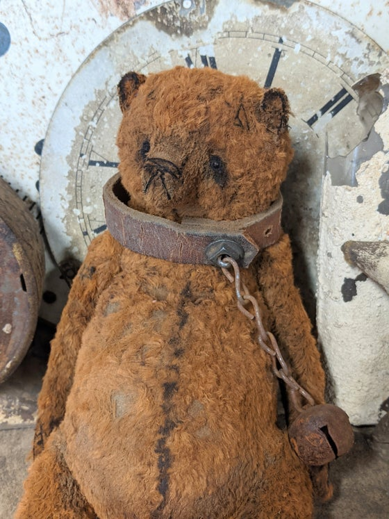 "Image of 9"" Old Primitive FAT Teddy Bear wearing antique leather collar by Whendi's Bear"