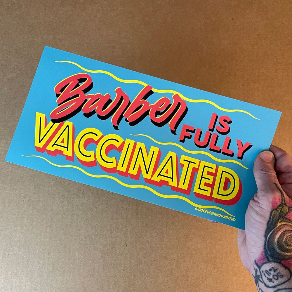 """Image of Barber Vaccinated 12x6"""" Print"""