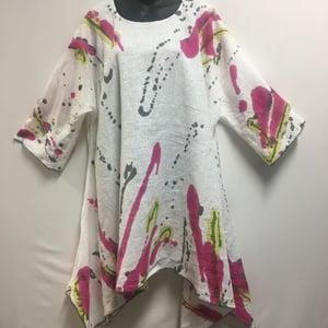 Image of Frida Linen Dress-Tunic/b - European Summer Linen - Hand Painted