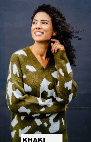 Image of Jeanne patterned khaki jumper